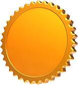 Golden blank award medal