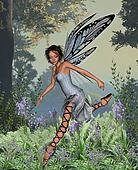 Bluebell Fairy in Spring Woodland