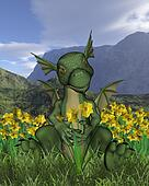 St Davids Day Baby Dragon Daffodils