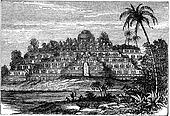 Borobudur or Barabudur in Central Java  Indonesia vintage engraving