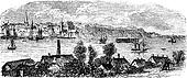 River, buildings and mountain at Kiel, Germany vintage engraving. Old engraved illustration of river, houses and mountains at Kiel, Germany, 1800s.