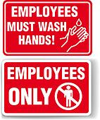 EMPLOYEES ONLY and WASH HANDS signs