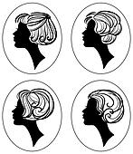 set of beautiful woman silhouette with stylish hairstyle