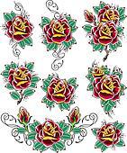 rose tattoo set