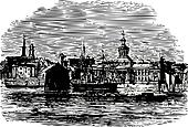 Waterfront at Kingston, Canada vintage engraving
