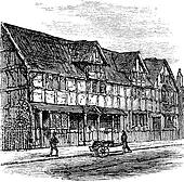Shakespeare's Birthplace at Stratford-upon-Avon, vintage engraving.