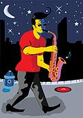 A Man Playing Sax