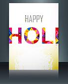 Indian festival brochure card colorful holi template illustration background