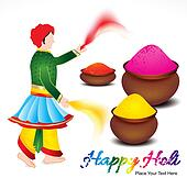 happy holi background with traditional indian man