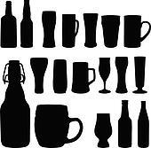 Beer bottles and glasses