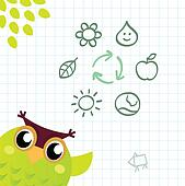 Recycle Owl with ecology and nature icos set