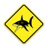 Shark sighting sign, Beach Closed