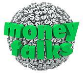 Money Talks Words Dollar Sign Symbol Sphere Ball Control Power