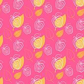 Seamless pattern with apple.Apple,pink,leaf.