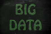 big data illustration, writing with binary code texture