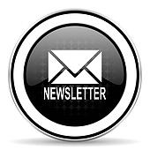 newsletter icon, black chrome button