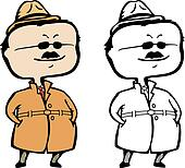 Smiling private detective, inspector or secret agent incognito - vector illustration