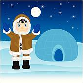 Eskimo beside igloo