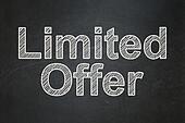 Finance concept: Limited Offer on chalkboard background