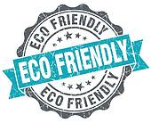 Eco friendly blue grunge retro style isolated seal
