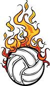 Volleyball Flaming Ball Vector Cart