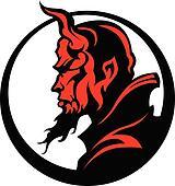 Devil Demon Mascot Head Vector Illu