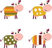 Cute color pattern Cows collection isolated on white background