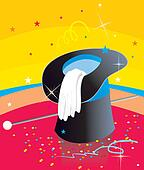 Wizard hat on colorful background