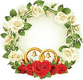 Vector frame with roses and rings