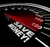 Save Money - Discount Sale Words on Speedometer