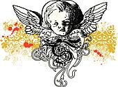 Wicked winged cherub illustration