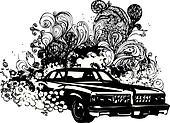 Grunge classic car illustration