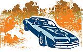 Classic retro car illustration