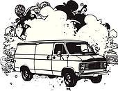 Black and white van illustration