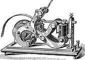Fig. 11. Morse receiver. - A frame, L, Lever, M, electromagnet; P, paper tape, SS, Screw, vintage engraving.