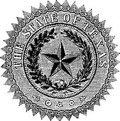 Seal of the State of Texas, vintage engraving.