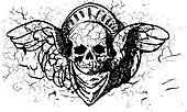 Winged skull ornament