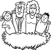 family nest cartoon coloring page