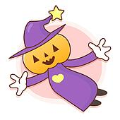 Pumpkin Wizard Mascot flying to the sky. Work and Job Character Design Series.