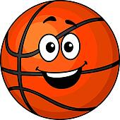 Cartoon happy basketball ball