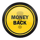 money back icon, yellow logo,