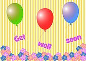 Get well soon lettering hanging on colorful balloons