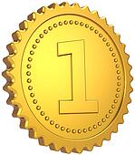 Golden first place award medal