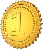 First place golden badge medal awar
