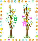 spring tree with birds with birdhouse and flower