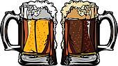 Beer or Root Beer Mugs Vector Image