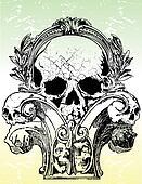 Vector statue skull illustration