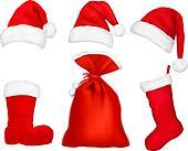 Three red santa hats.