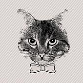 Cat face with bow