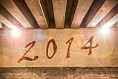 The year 2014 painted as graffiti